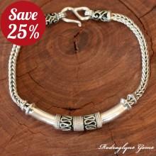 Silver Green Enamel Bracelet