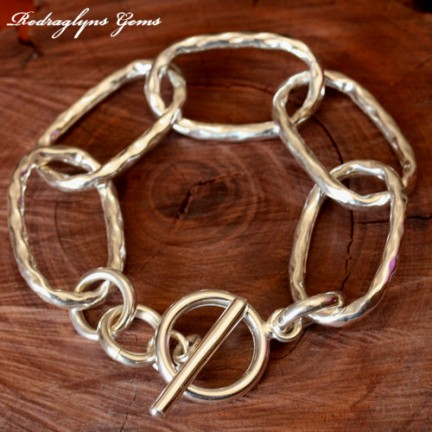 Silver Hammered Bracelet