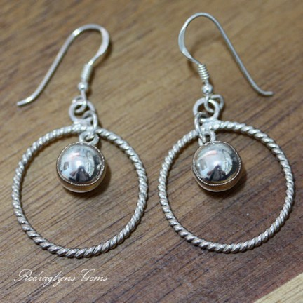 Silver Twist Ball Earrings