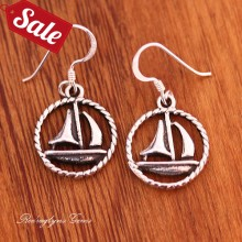 Silver Ship Earrings