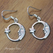 SIlver Moon & Star Earrings