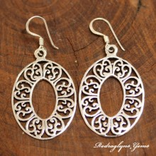 Silver Filigree Oval Earrings