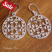 Silver Circle Filigree Earrings