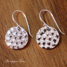 Silver Hammered Earrings 2 Sizes