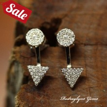 Silver Micro Pave CZ 2 in 1 Earrings