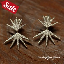 Silver Micro Pave Starburst 2 in 1 Earrings