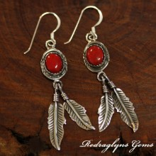 Silver Indian Earrings Red