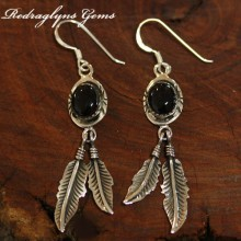 Silver Indian Earrings Black