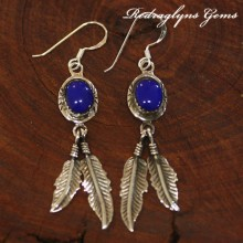 Silver Indian Earrings Blue