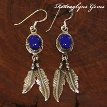 Silver Indian Earrings Blue