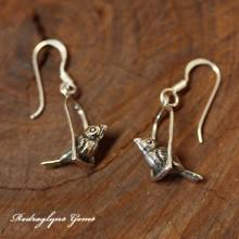 Silver Bird Swing Earrings