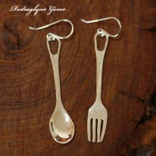 Silver Fork and Spoon Earrings