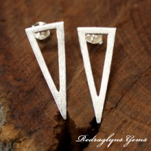 Silver Brushed Triangle Earrings