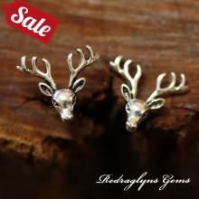 Silver Deer Studs