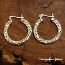 Silver Filigree Hoops