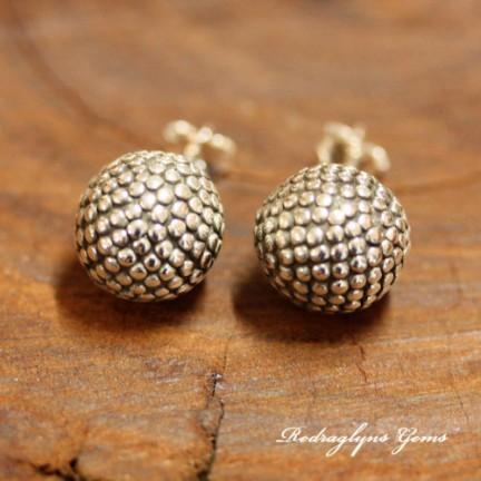 Silver Textured Ball Studs