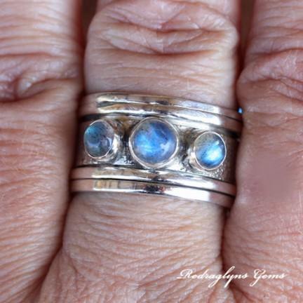Silver Labradorite Ring Size 10