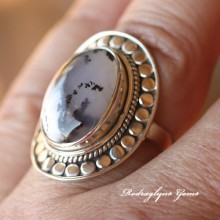 Moss Agate Ring Size 8