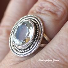 Green Amethyst Ring Size 8