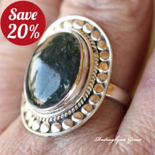 Moss Agate Ring Size 10