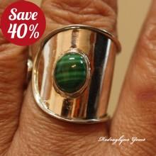 Malachite Ring Size 10