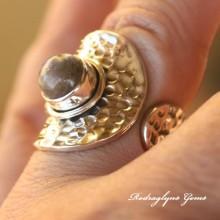 Labradorite Hammered Ring Size 8