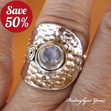 Moonstone Hammered Ring Size 8