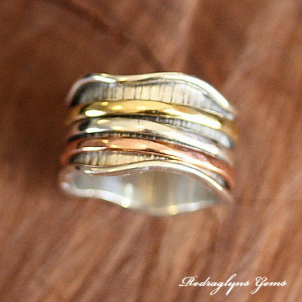 Silver Mixed Metal Spinner Ring