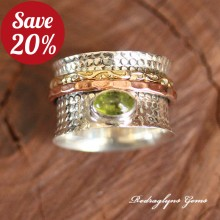 Peridot Spinner Ring SZ 8