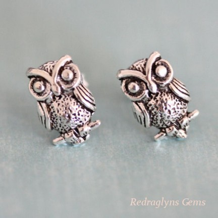 Silver Owl Studs