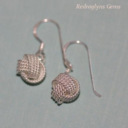 Silver Twisted Ball Earrings