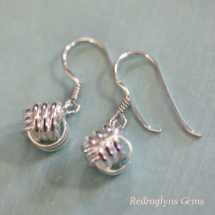 Silver Twisted Ball Earrings
