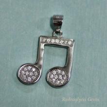 Silver CZ Music Pendant