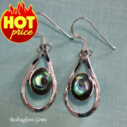 Silver Abalone Shell Earrings